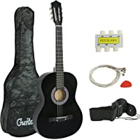 "Smartxchoices 38"" Black Beginners Acoustic Guitar 6-string Wooden Guitar For Starter Dummies Gifts with Strings, Guitar Case, Strap, Pitch Pipe and Pick (Black)"