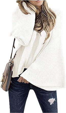 Landove Jersey Punto Mujer Camiseta Manga Larga Sueter Invierno