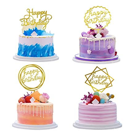 Image Unavailable Not Available For Color Happy Birthday Cake Topper Gold Cupcake