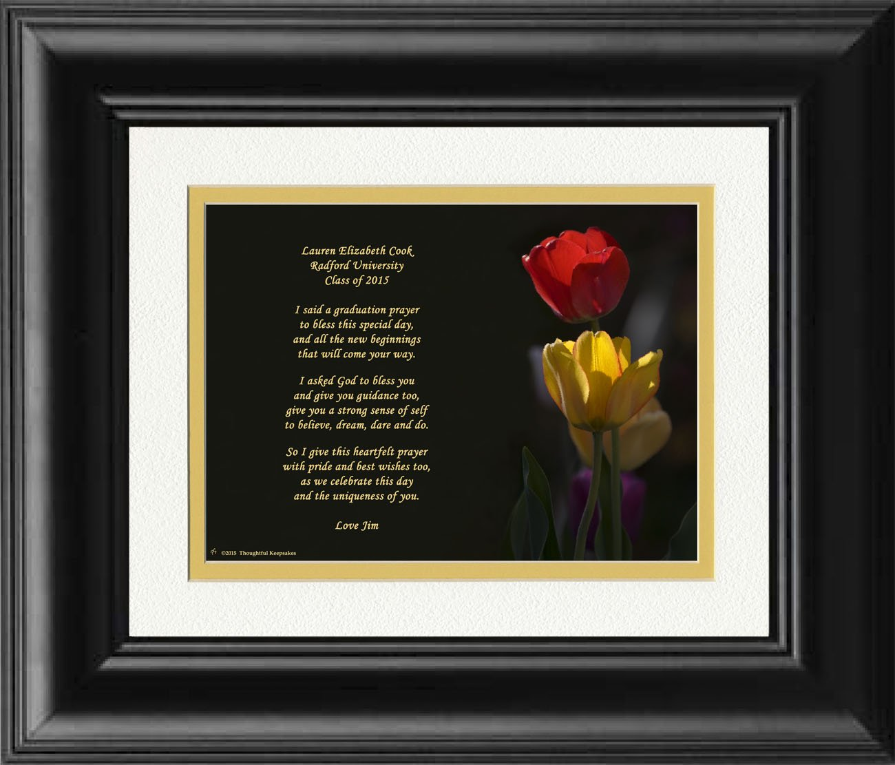 Framed Personalized Graduation Gift with ''Graduation Prayer Poem'' Tulips Photo, 8x10 Double Matted. A Special Keepsake Gift for Graduate