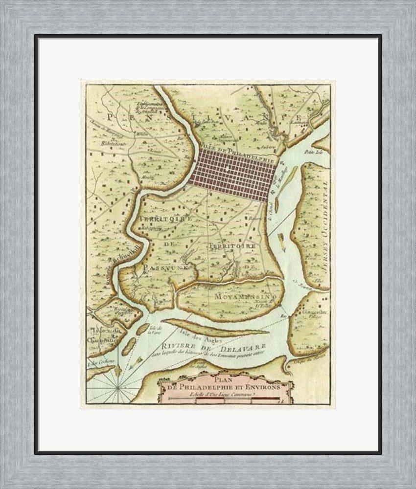Amazon.com: Petite Map of Philadelphia Framed Art Print Wall Picture ...