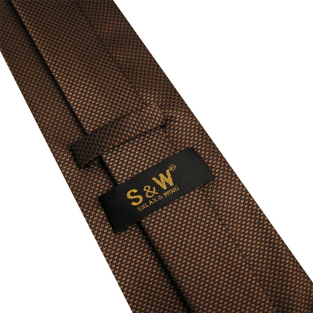 S/&W SHLAX/&WING Herren Krawatte Einfarbig Dark Braun Chocolate Seide Classic
