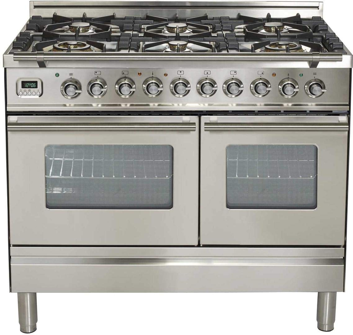 Ilve UPDW1006DMPI Pro Series 40 inch. 6 Burner Dual Fuel Double Oven Range Storage Drawer Stainless Steel