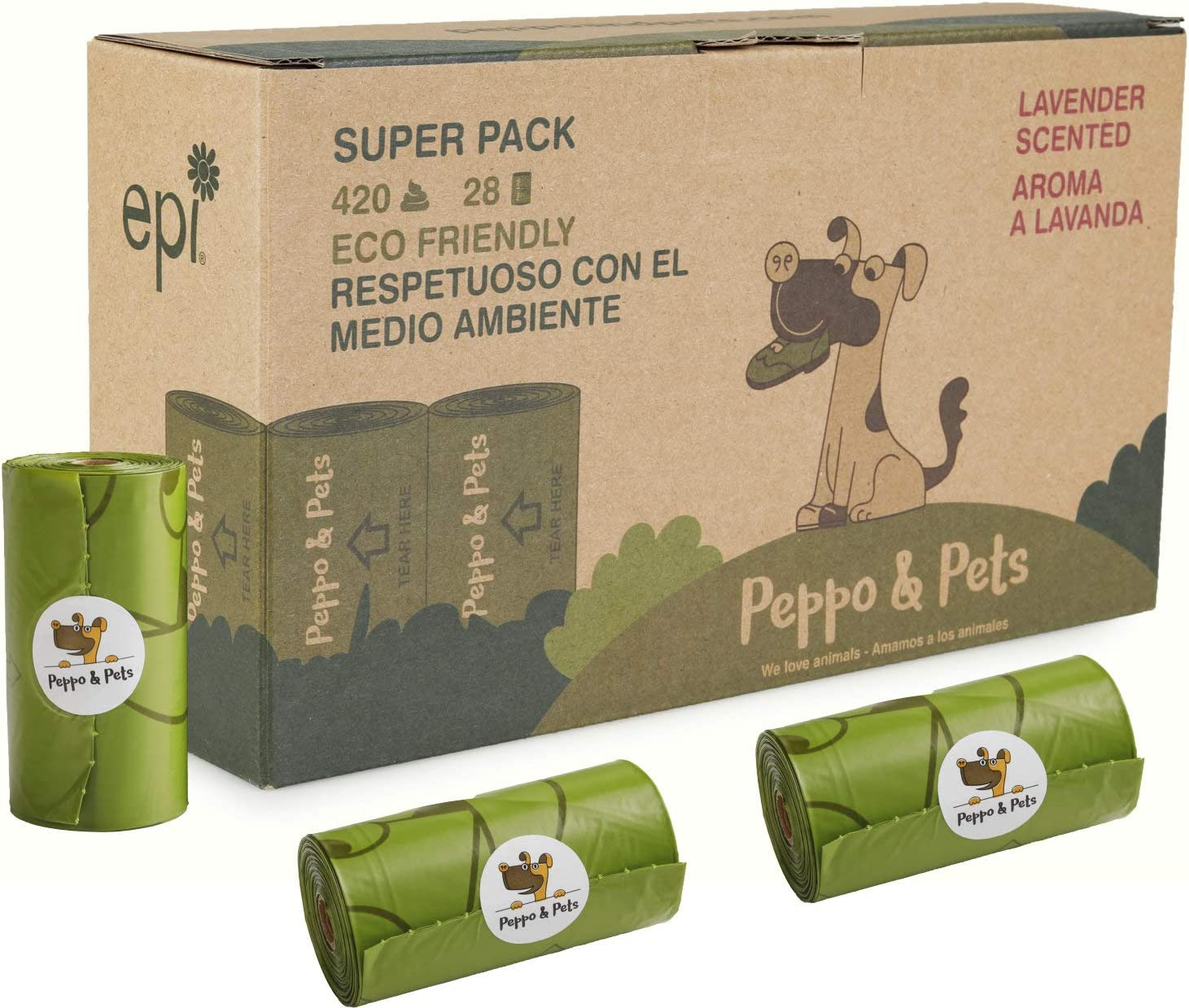 Peppo and Pets- 420 Bolsas biodegradables para excrementos de Perro -(28 Rollos) - Muy Resistentes - Olor a Lavanda- Opacas- A Prueba de Fugas