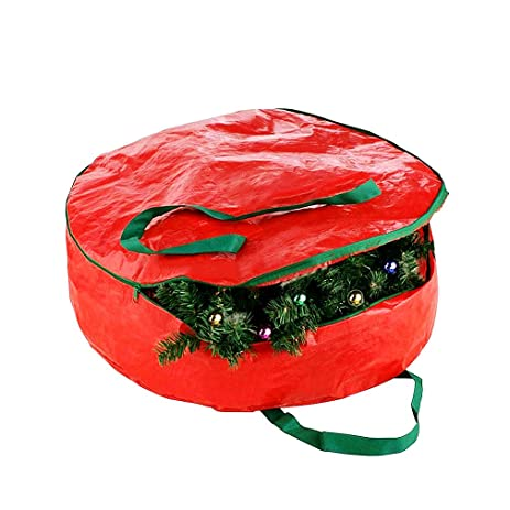 christmas wreath storage bag xmas wreath container storage or christmas decorations storage container red 24