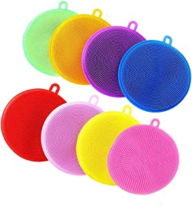 Kitchen Silicone Dish Sponge,8 Pieces Multipurpose Cleaning Sponges Magic Dish Washing Brush Scrubber Dishwasher Safe Cleaning Tools for Dish Pan Pot Vegetable Fruits
