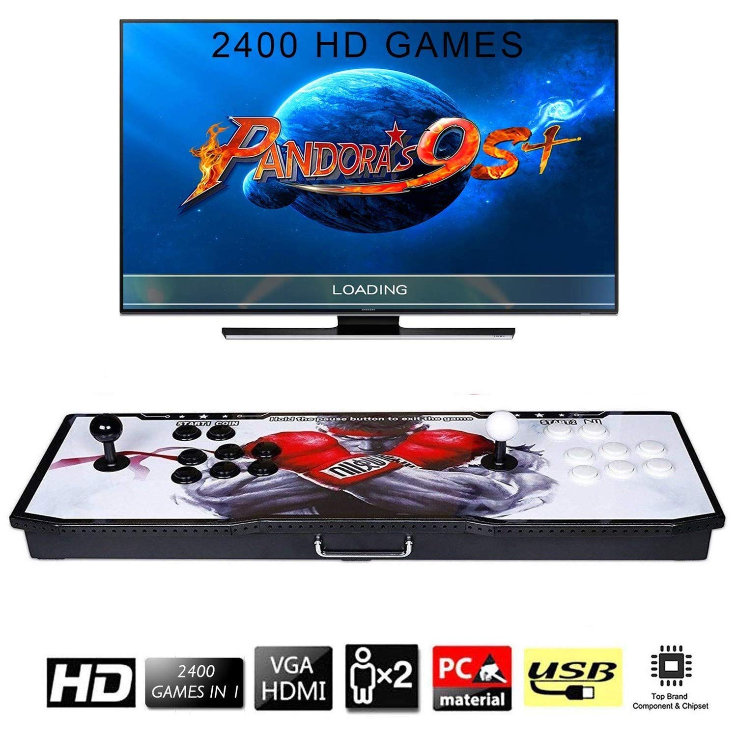 【2400 Games in 1】 Arcade Game Console Ultra Slim Metal Double Stick 2400 Classic Arcade Game Machine 2 Players Pandoras Box 6S 1280X720 Full HD Video Game Console for Computer & Projector & TV by TanDer (Image #1)