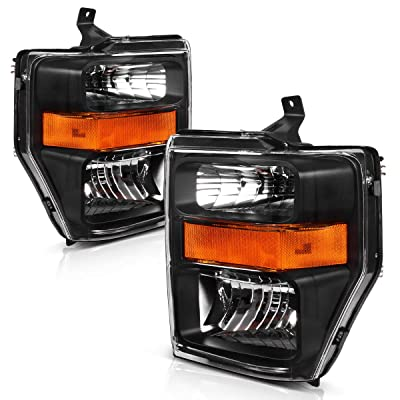 AUTOSAVER88 Headlight Assembly Compatible with 2008-2010 Ford F250 F350 F450 Super duty,OE Projector Headlamp,Black housing,(FO2502243,FO2503243): Automotive