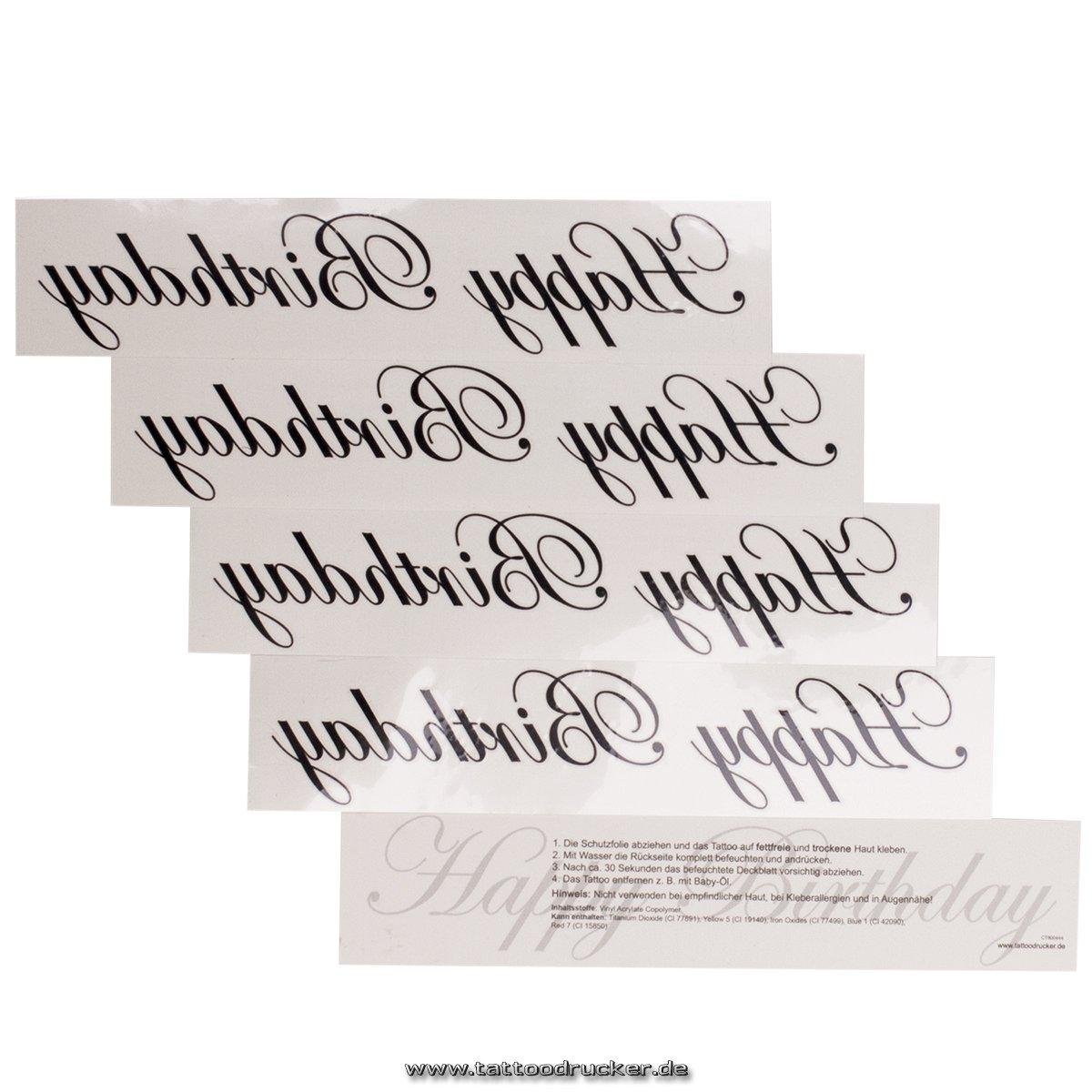 1x Happy Birthday - Tatuaje con letras en negro (1): Amazon.es: Hogar