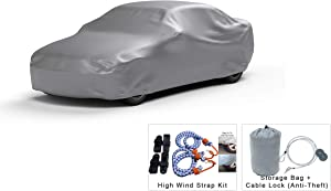 Platinum Shield Weatherproof Car Cover Compatible with 2017 Alfa-Romeo Giulia Sedan 4 Door - Outdoor/Indoor - Protect Water, Snow, Sun - Fleece Lining - Free Cable Lock, Storage Bag & Wind Straps