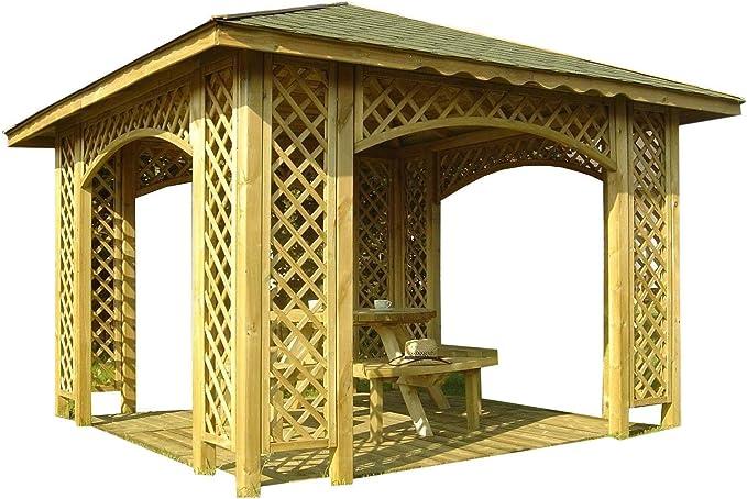 Pérgola de 3 m x 3 m para jardín, de madera, con celosía, con guijarros opcionales y 12 soportes, madera, Natalia Without Shingles, 12 x 12: Amazon.es: Hogar