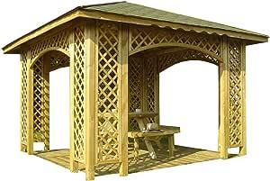 Pérgola de 3 mx 3 m para jardín, de madera, con celosía, con guijarros opcionales y 12 soportes, madera, Natalia Without Shingles, 12 x 12