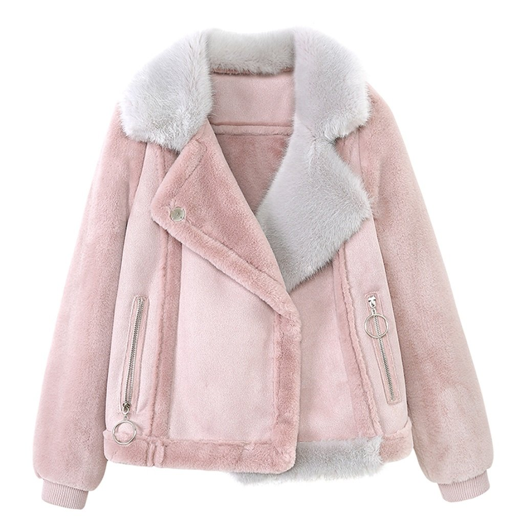 lime Short Sections Slim Straight Coat Winter Pink Warm Jacket Fashion Sweet Thickening Cotton Coat ( Color : Pink , Size : XL )