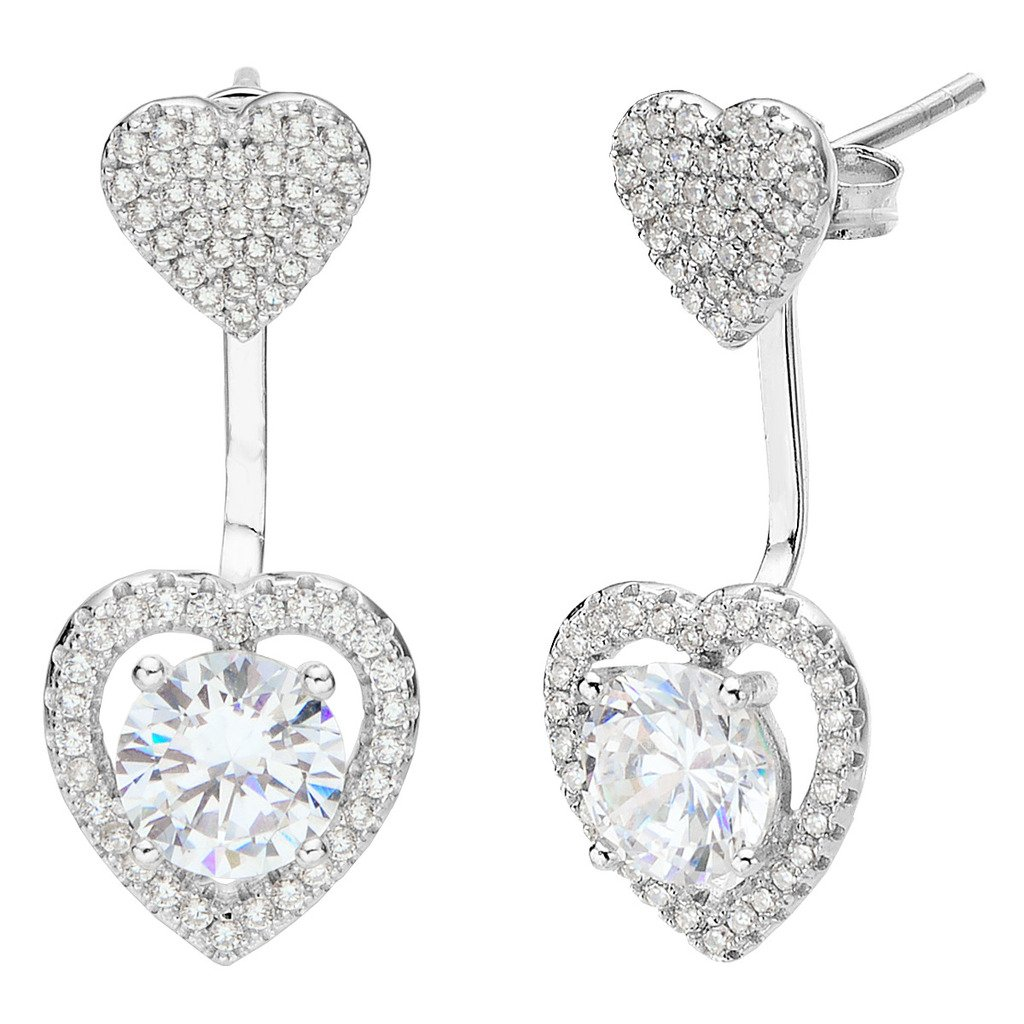 EVER FAITH 925 Sterling Silver Cubic Zirconia Love Heart Front Back Stud Ear Jacket Earrings Clear