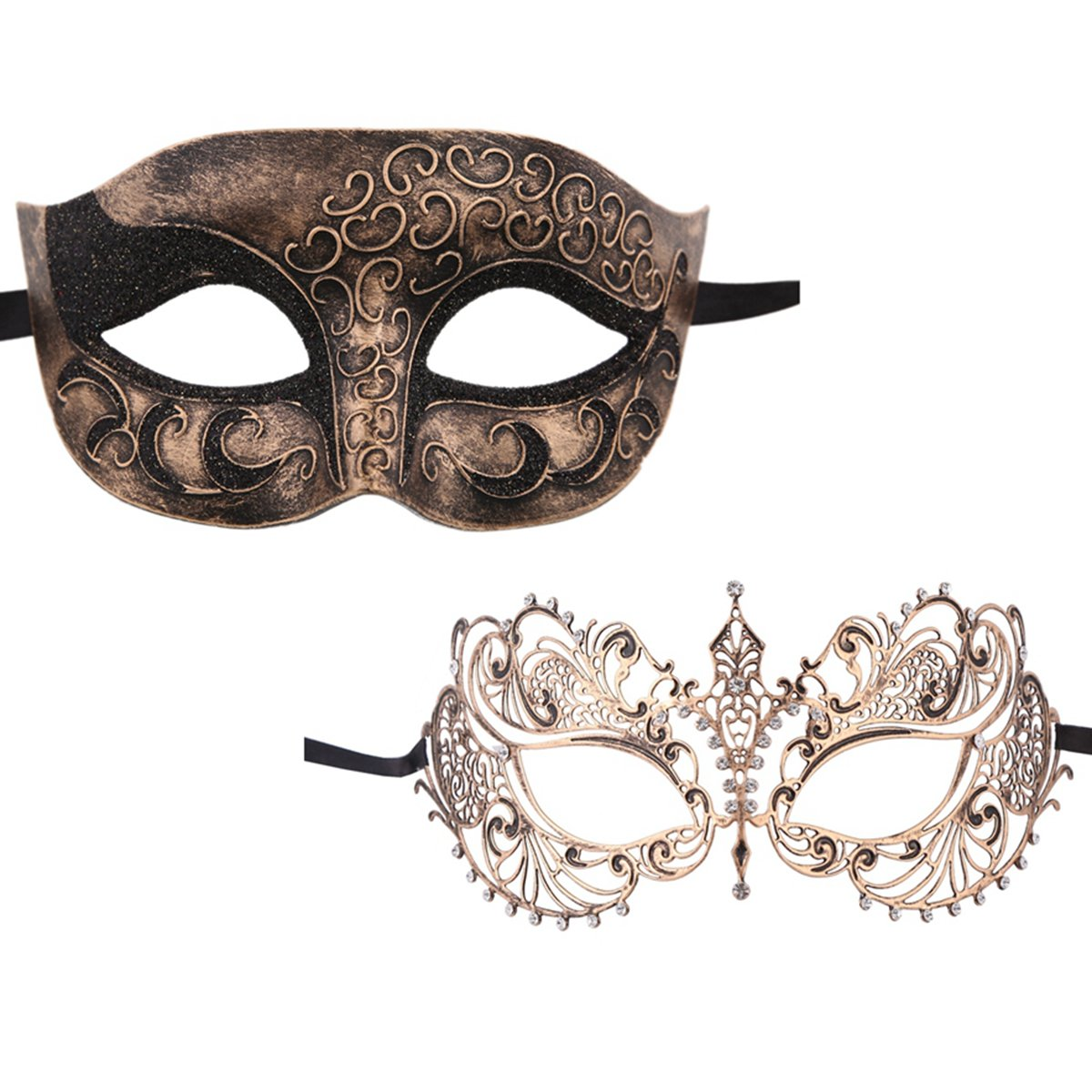 Xvevina One Pair Venetian Mask Masquerade Mask for Couples (Vintage Gold Couple)