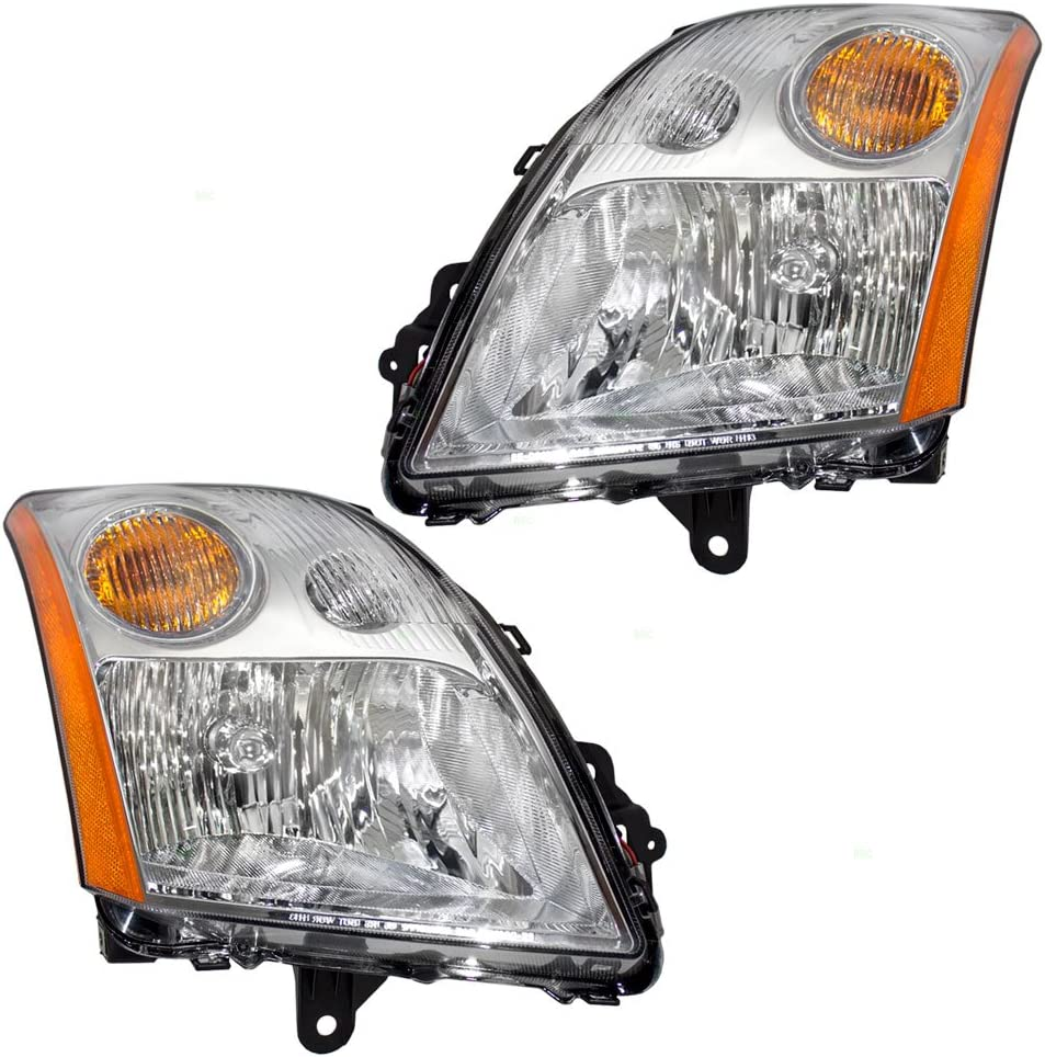 Driver and Passenger Headlights Headlamps with Chrome Trim Replacement for Nissan 26060ET000 26010ET000
