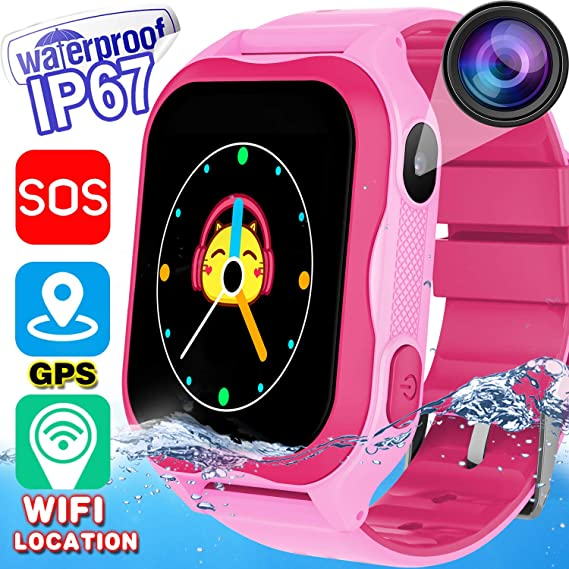 kids phone smart watch ip67 waterproof for 3 14 year girls boys wifi fitness gps