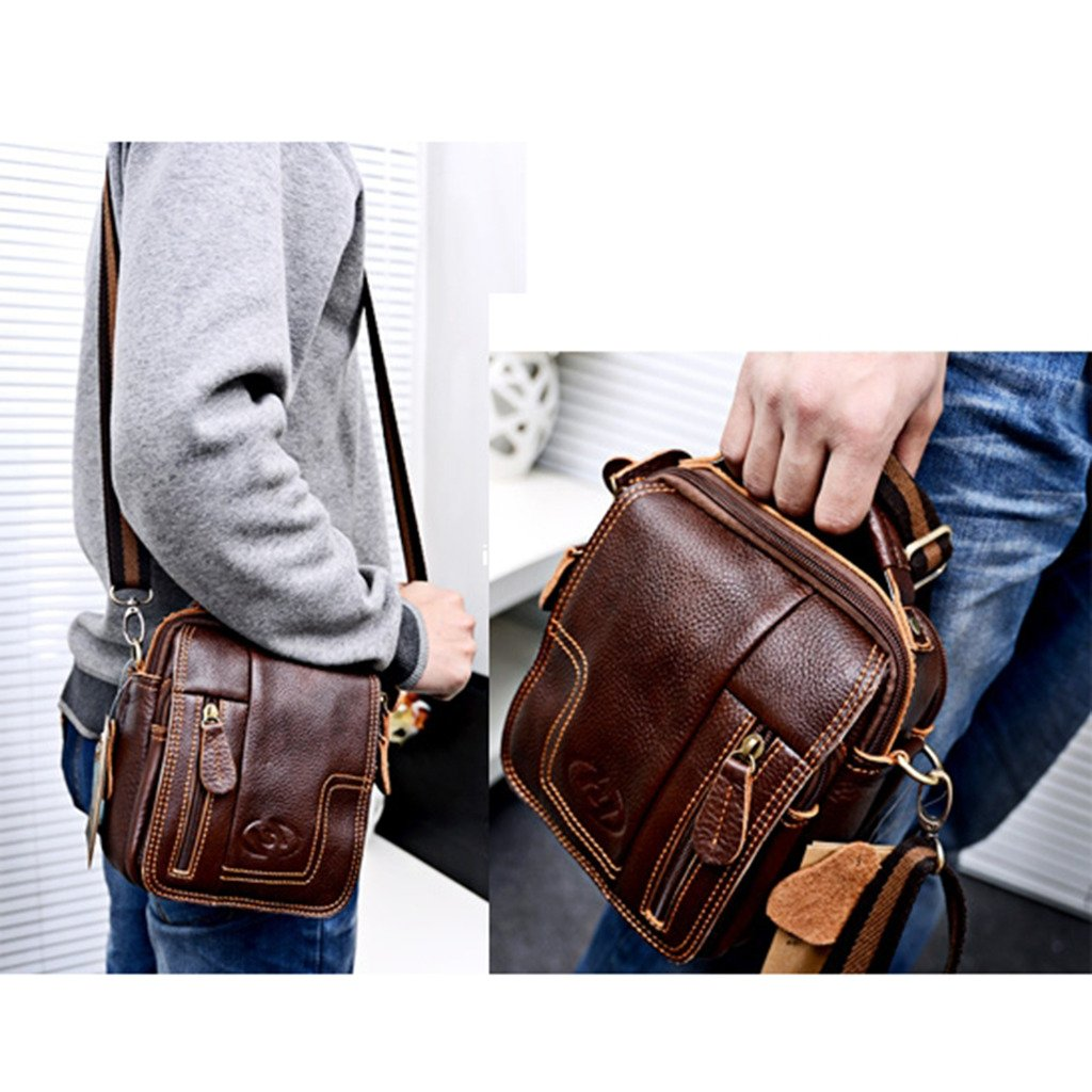 Amazon.com: MM Men's Black Leather Cross Body Messenger Bag ...