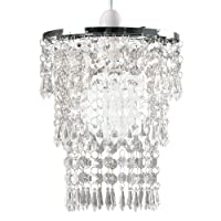 Beautiful Modern Chrome Chandelier Pendant Shade With Stunning Clear Acrylic Jewel Droplets