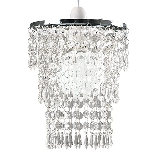 Beautiful modern chrome chandelier pendant shade with stunning clear beautiful modern chrome chandelier pendant shade with stunning clear acrylic jewel droplets aloadofball Image collections