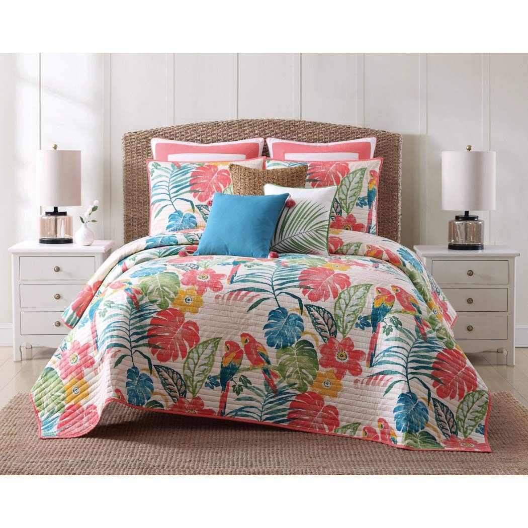 MISC 3pc Girls Colorful Tropical Quilt King Set, Floral Parrot Tropics Bedding, Bright Vibrant Color Flower Parrots Tropic Bird Themed Pattern Cotton, Pink Blue Green Yellow White