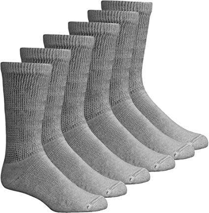 12 Pairs 3-6 MADE IN USA Men White Crew Diabetic Socks Size 10-13 or 13-15