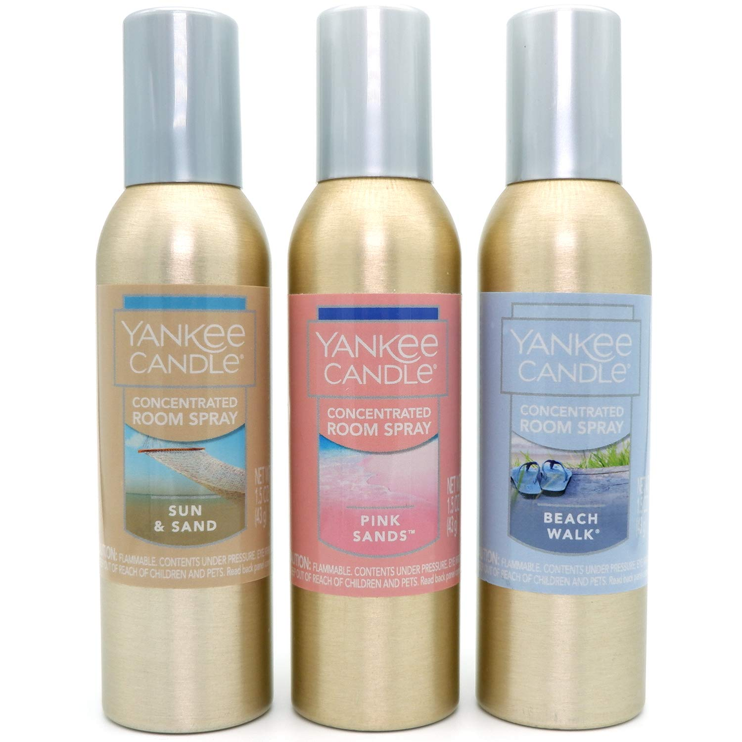 Yankee Candle Summer Favorites 3-Pack Concentrated Room Sprays (Sun and Sand, Pink Sand, Beach Walk)
