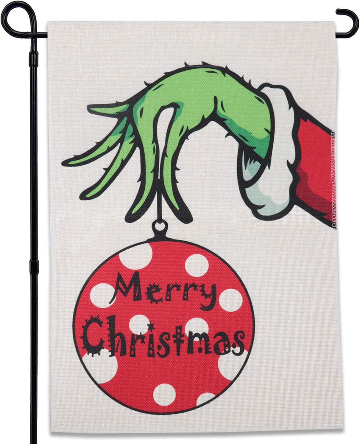 GEGEWOO Merry Christmas Grinch Garden Flag Vertical Double Sided Merry Christmas Grinchmas Winter Farmhouse Holiday Party Yard Outdoor Decoration 12 x 18 Inch