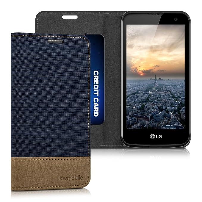 3 opinioni per kwmobile LG K4 LTE (2016) Cover Flip- Custodia a Libro in Pelle PU e Tessuto-