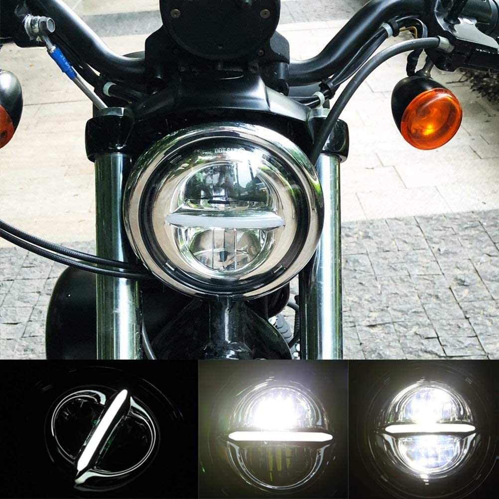5-3//4 5.75 inch Round Halo LED Headlight DRL Bulb Kit for Harley Davidson Dyna Softail Sportster Wide Glide Iron 883 Street Bob Low Rider Motorcycle Reflector Headlamp