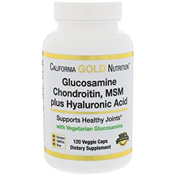 California Gold Nutrition Glucosamine Chondroitin MSM Plus Hyaluronic Acid 120 Veggie Caps, Milk-Free