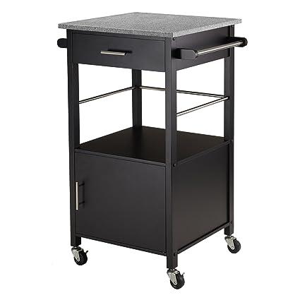Amazoncom Winsome Davenport Kitchen Cart With Granite Top Black