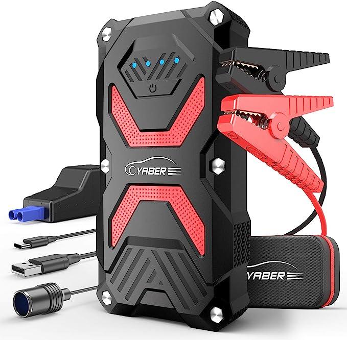 Yaber Auto Starthilfe 1000a Starthilfe Powerbank Mit Led Taschenlampe Qc3 0 Ausgang Ip66 Wasserdicht Auto
