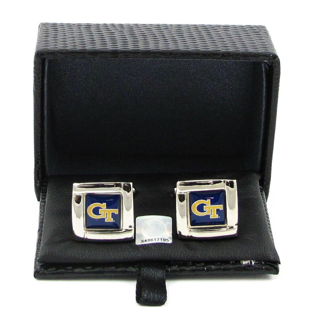 NCAA Georgia Tech Yellow Jackets Square Cufflinks With Square Shape Engraved Logo Design Gift Box Set