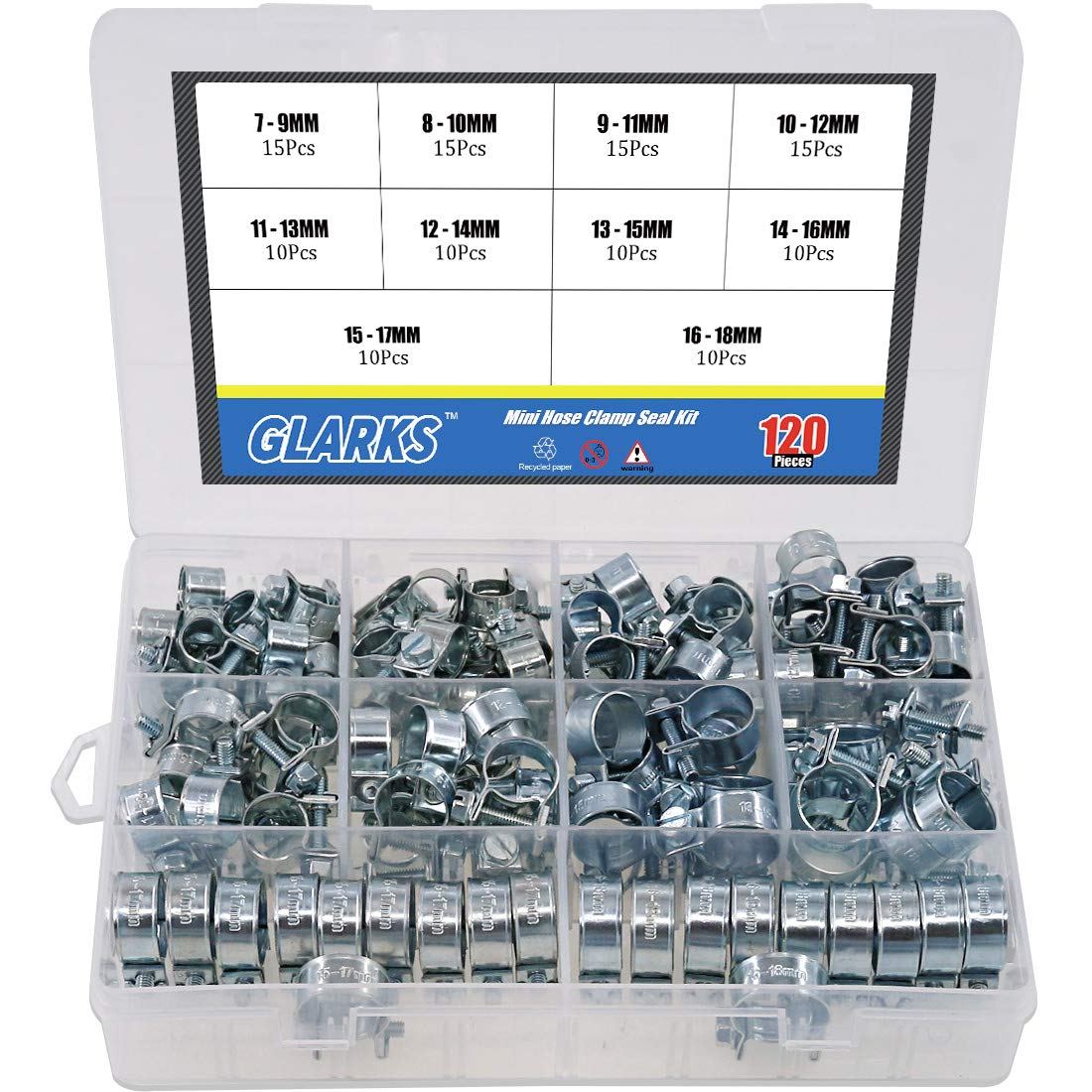 Glarks 120Pcs 10 Size Mini Fuel Injection Style Hose Clamp Assortment Kit for Diesel Petrol Pipe