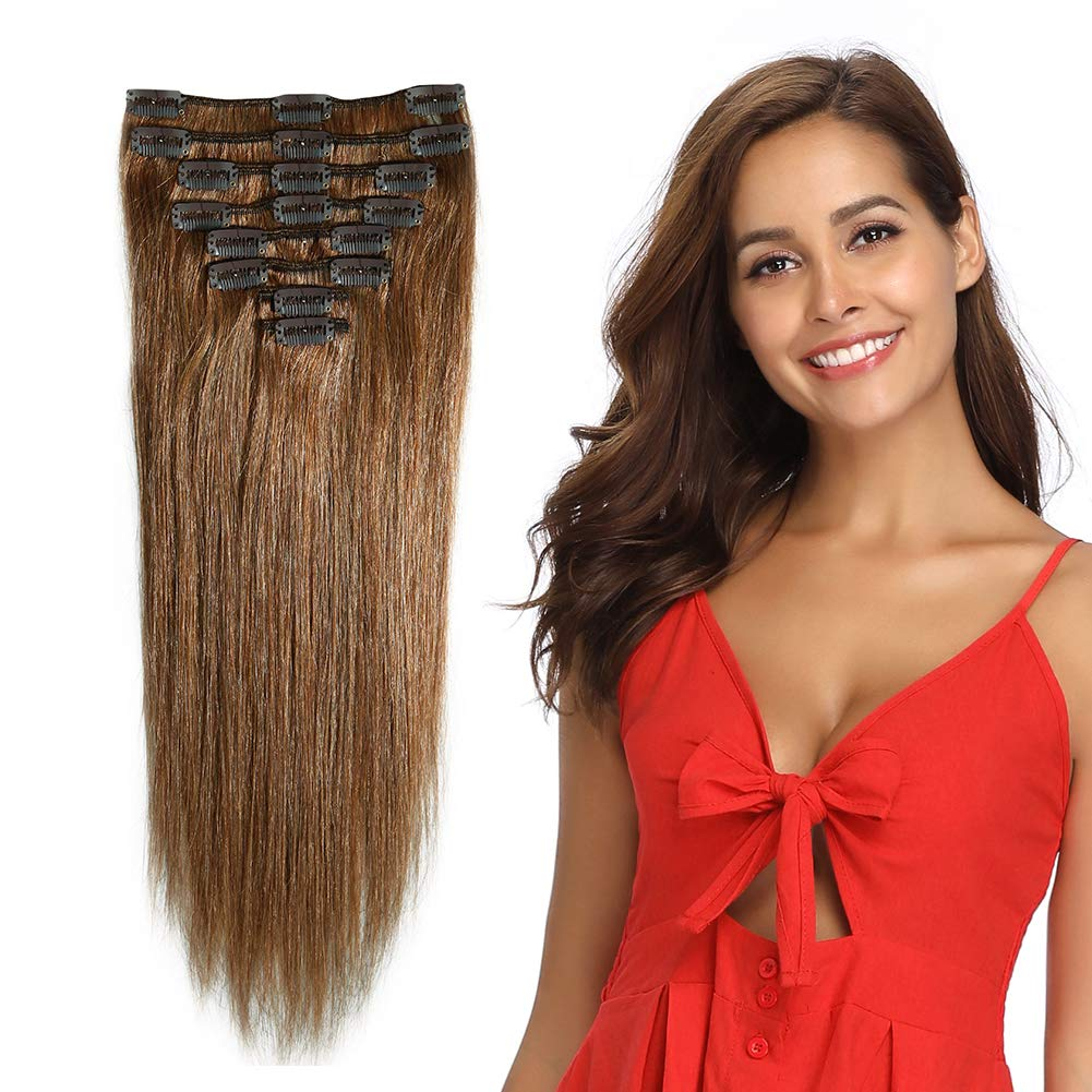 22'' / 22 inch 100% Remy Human Hair Extensions Clip in #6 Light Brown Grade 7A Quality Full Head 8pcs 18clips Long Soft Silky Straight for Women Fashion 110g by MY-LADY