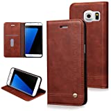 Euhubb Galaxy S7 Edge Wallet Case, Slim, Premium Faux Leather, Card Holder, Magnetic Closure, Lightweight, Classic Design For Samsung Galaxy S7 Edge - Dark Brown
