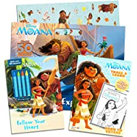 Disney Moana Coloring and Activity Book Super Set Kids Toddlers -- 3 Deluxe Moana Books with Stickers, Crayons and More (Party Set)