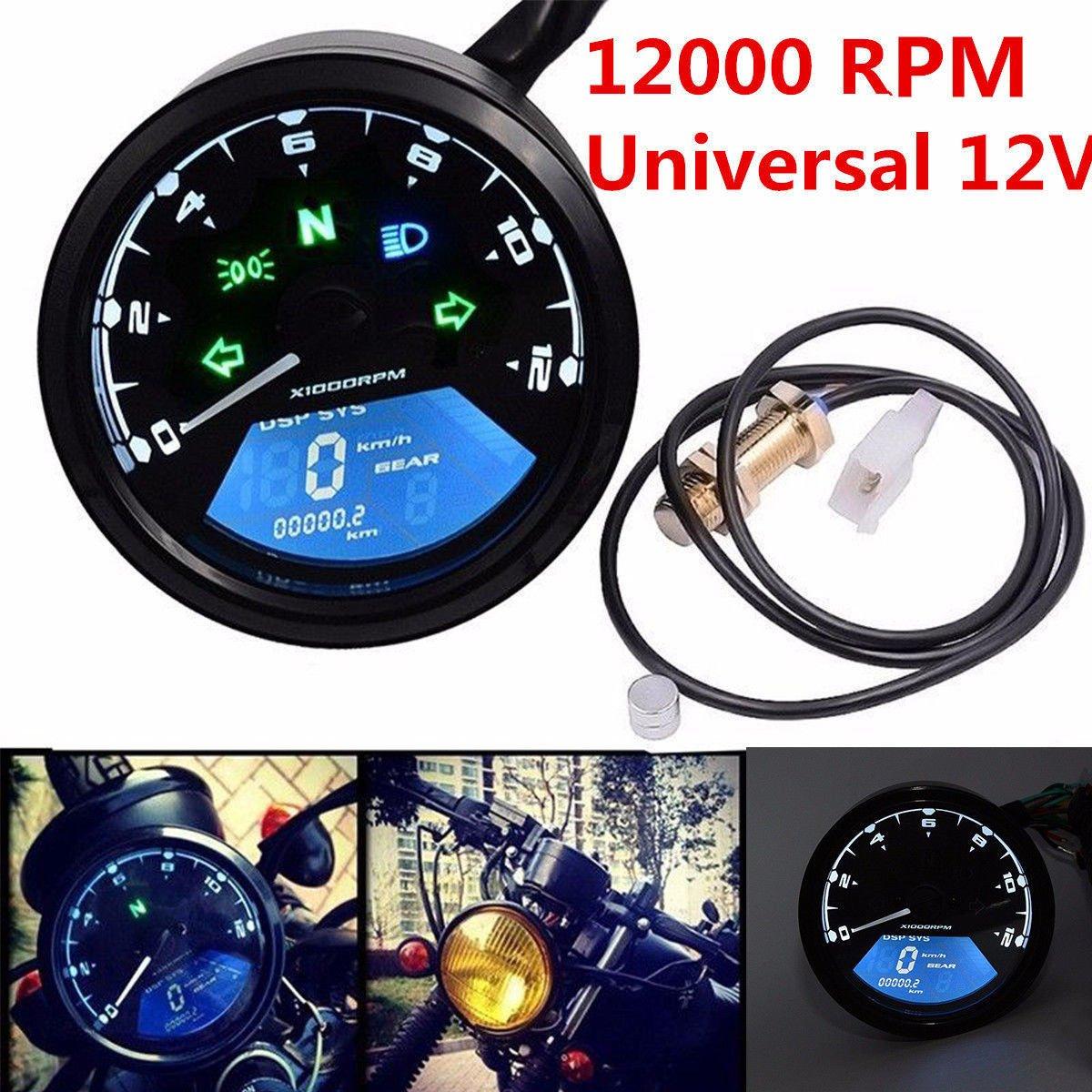 Triclicks Universal 12000RPM LCD Motorrad Digitaltacho Tacho Tachometer Kilometerzä hler fü r die meisten Motorrä der, die mit Viertakt-, 2/4-Zylindern ausgestattet sind (Standard als 1 Zylinder der Einstellung)