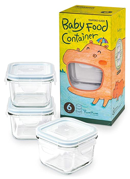 Glasslock 6pcs Set Yum Yum Eco Friendly Airtight Spill Proof Baby Meal Food Storage Container Square 210ml