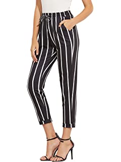 c6b5aef66a3 MAKEMECHIC Women s Drawstring Striped High Waist Cropped Pants with Pocket