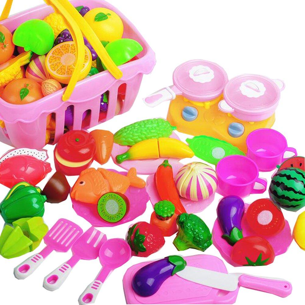 32 piezas de corte de frutas vegetales Jugar juguetes de alimentos Corte de alimentos Set Pretend educación alimentaria