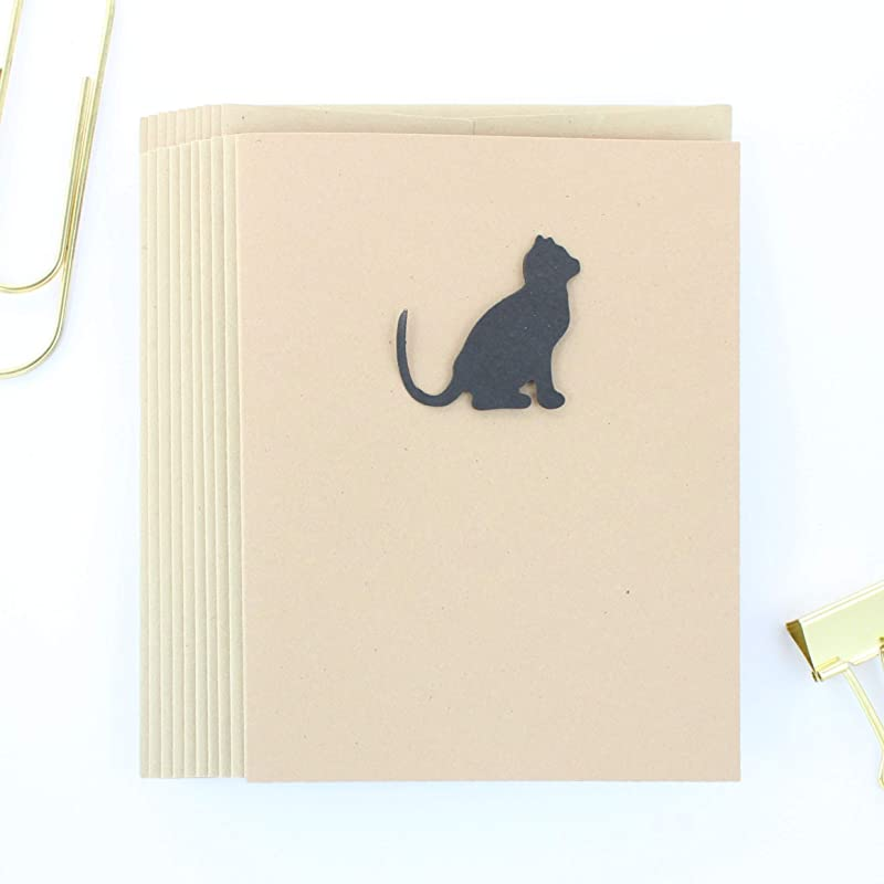 Hand-Cut Cat Any Occasion Card  Note Card  Black Cat Card  Unique  Animal Cards  Sparkly Card  Black and White  Stationery