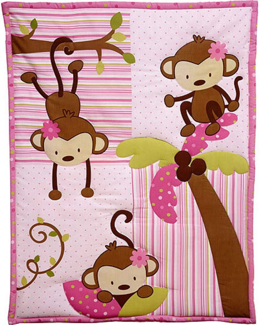 10 Piece Baby Girls Pink Brown Green Monkeys Crib Bedding Set, Newborn Jungle Nursery Bett Set, Safari Themed Patchwork Animals Nature Trees Infant Child Bold Border Comforter Blanket, Cotton Polyester