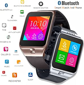 inDigi Unlocked! 2-in-1 SIM-Card + Bluetooth 2-in-1 interconvertible Smart Watch Phone for All Android OS Smartphone & iPhone iOS (Gold)