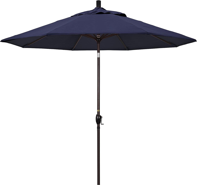 California Umbrella Gspt908117 5439 9 Round Aluminum Market Crank Lift Push Button Tilt Bronze Pole Sunbrella Navy Patio Umbrella 9 Feet Patio Umbrellas Garden Outdoor Amazon Com