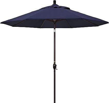 Amazon Com California Umbrella Gspt908117 5439 9 Round Aluminum Market Crank Lift Push Button Tilt Bronze Pole Sunbrella Navy Patio Umbrella 9 Feet Patio Umbrellas Garden Outdoor