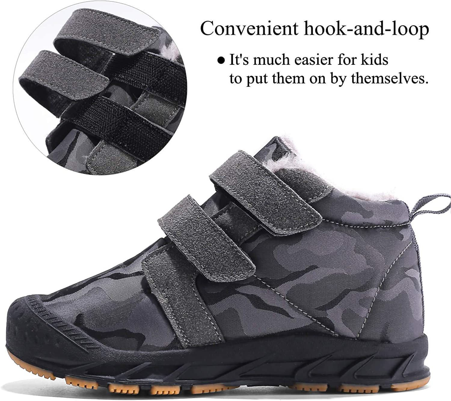 ITAPO Kids Winter Snow Boots Anti-Slip Ankle Boots Shoes with Fur Lining
