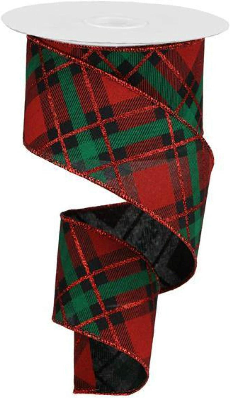 "5 Yds Red Green Blue Plaid Ribbon 1/""W"