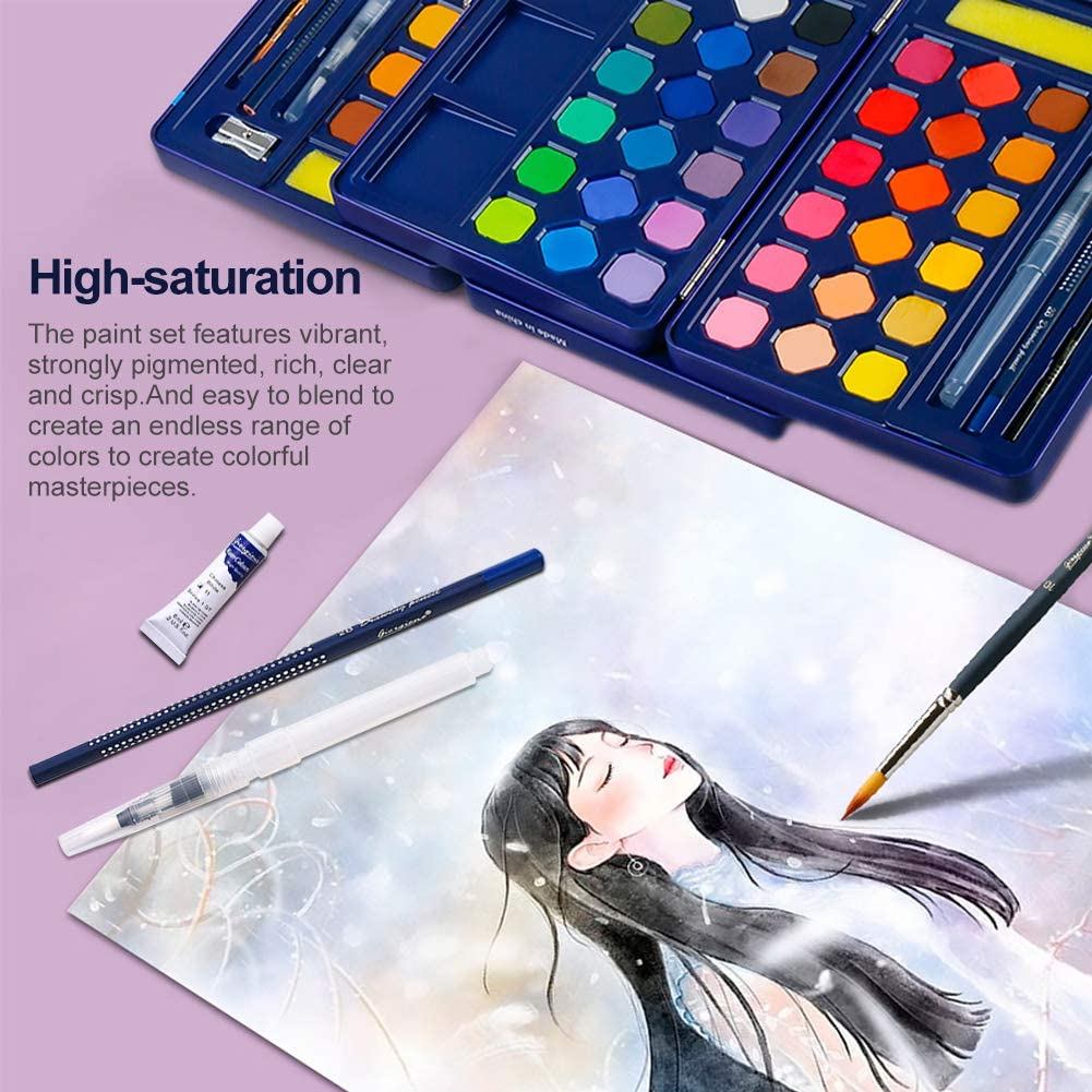 Kids Watercolor Paint Set 48 Reusable Watercolor Paint Kits with Watercolor Paint Brush Pens Artists Art Supplies Painting Gifts for Adult Teenager and Durable Storage Case,Blue Palette